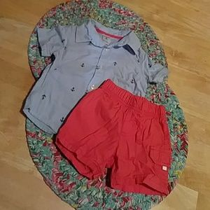 Carter's 2 Nautical pieces shirt and shorts